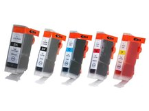 Special Set of 5 Compatible Cartridges to replace CANON BCI-3/5/6 (eBK, BK, C, M, Y)