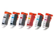 Special Set of 6 Compatible Cartridges to replace CANON BCI-3/5/6 (BK, C, M, PC, PM, Y)