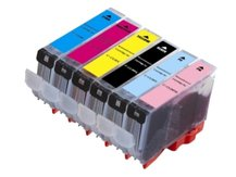Special Set of 6 Compatible Cartridges to replace CANON CLI-8 (BK, C, M, PC, PM, Y)