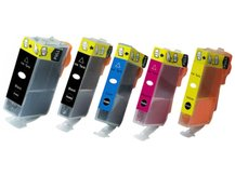 Special Set of 5 Compatible Cartridges to replace CANON CLI-221/PGI-220 (2BK, C, M, Y)